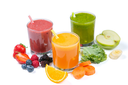 Creative layout of fresh smoothies Stock Photo