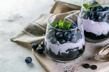 Detox activated charcoal chia pudding breakfast with blueberries Stock fotó - 103317050