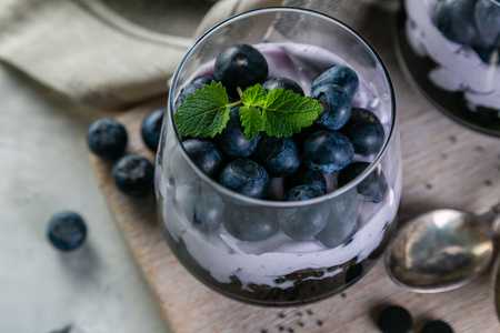 Detox activated charcoal chia pudding breakfast with blueberries Stock fotó - 103634371
