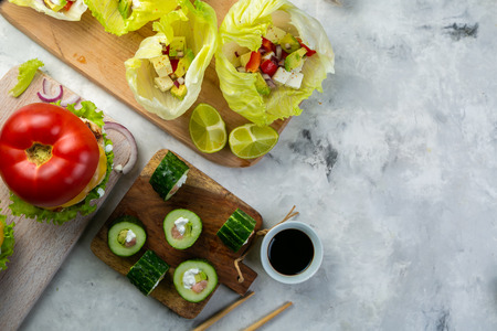 Selection of low carb meal options - burger, taco, sushi 写真素材