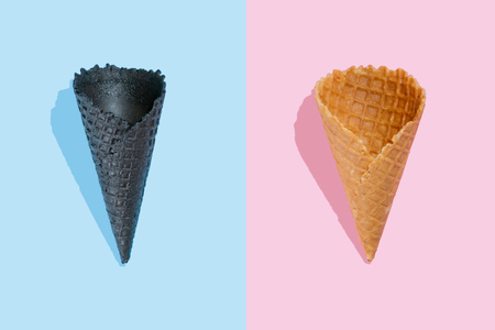 Creative layout - ice cream cones, top view Stock Photo