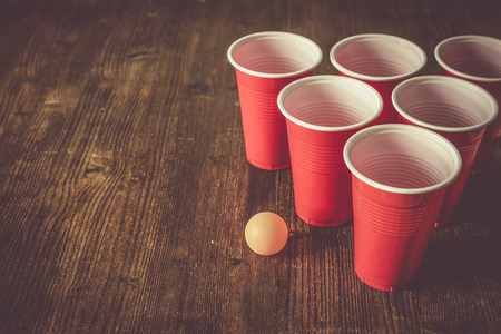 College party sport - beer pong table setting