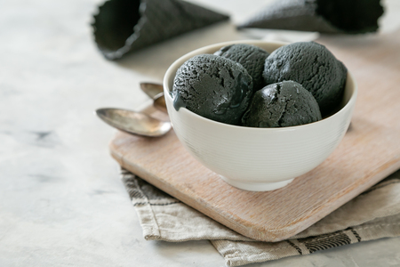 Activated charcoal ice cream Stock Photo