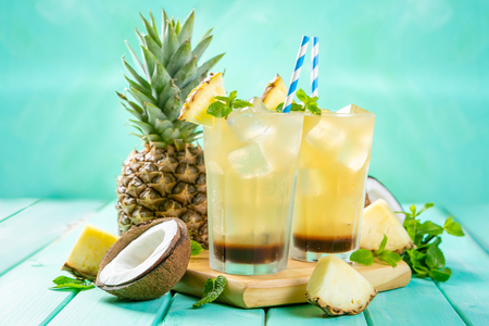 Summer coffee cocktail with coconut and pineapple Stockfoto