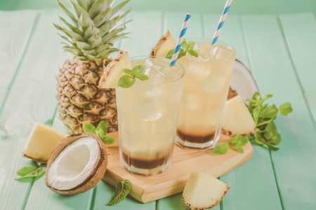 Summer coffee cocktail with coconut and pineapple Stock Photo