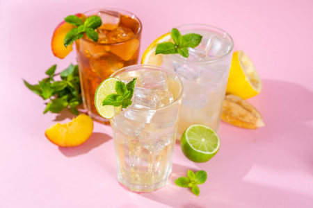 Summer drinks - selection of iced tea refreshments Stock Photo