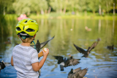 Boy feeding ducks and pigeons in the park by the lake