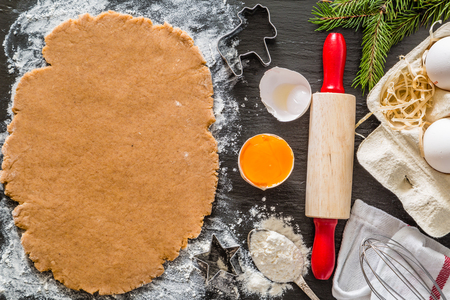 Christmas baking background with utencils and ingredients Stock Photo
