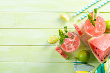 Watermelon lemonade with lime and mint, wood background Stock fotó