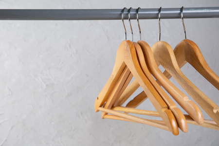 Wood empty hangers on rack with rustick background Reklamní fotografie - 110116941