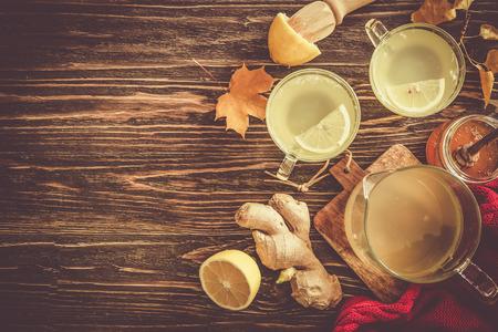 Autumn hot drink - ginger, lemon, honey tea and ingredients