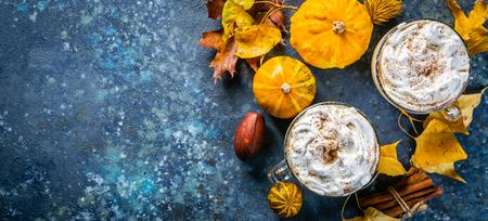 Pumpkin spice latte in glass cups Stock Photo