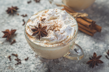 Chai latte and ingredients on concrete background, toned Banco de Imagens - 110576129
