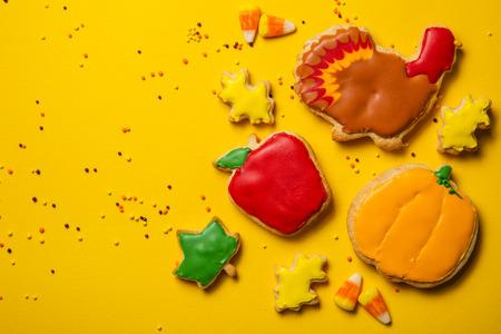 Thanksgiving concept - cookies shaped like pumpkin, turkey, leaves