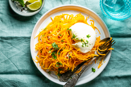 Butternut squash noodles with mozzarela, pecans, herbs