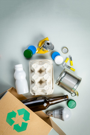 Recycling concept - recyclable materials with symbol