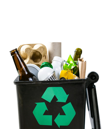 Recycling concept - recyclable materials in trash can