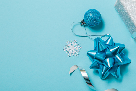 Christmas background - presents and decorations in silver and blue, top view Stock Photo
