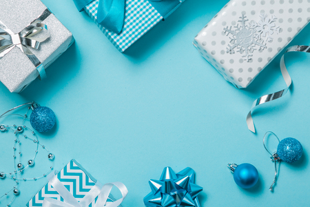 Christmas presents and decorations in silver and blue