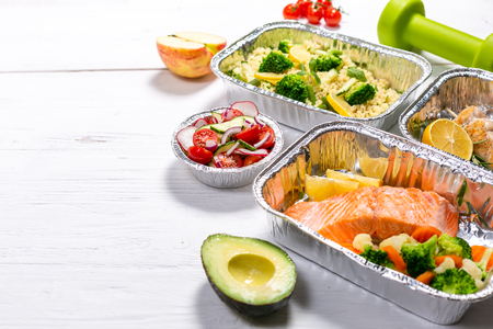 Healthy food delivery concept - meals in  containers