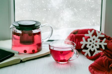 Winter cozy cranberry tea