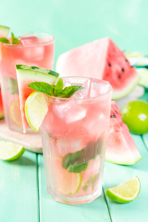 Watermelon lemonade with lime and mint