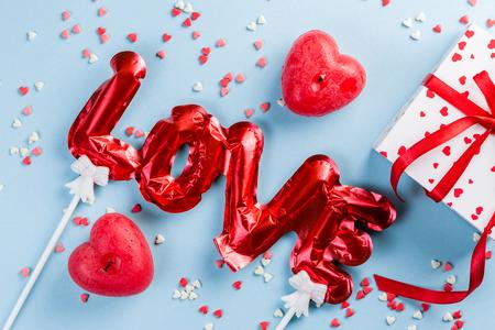 Valentines day background - present, love baloon, confetti