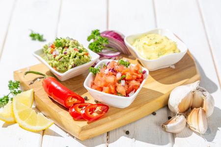 Selection of mexican sauces - salsa, guacamole, cheese sauce Reklamní fotografie