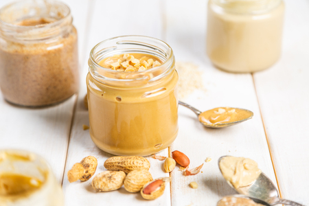Peanut butter in glass jar