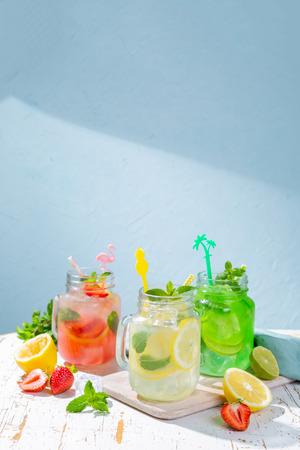 Selection of summer lemonades in glass jars Stock Photo