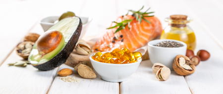 Selection of healthy unsaturated fats, omega 3 Stock Photo - 116033770
