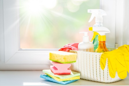 Spring cleaning concept - cleaning products, gloves Stok Fotoğraf - 116504766