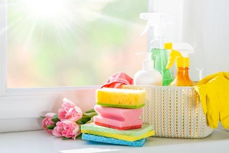 Frühjahrsputzkonzept - Reinigungsmittel, Handschuhe
