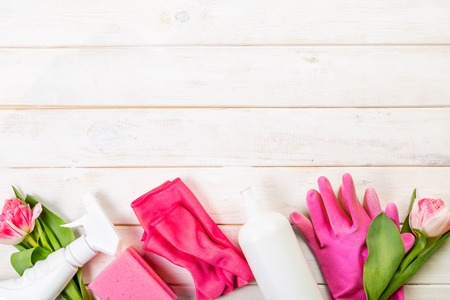 Spring cleaning concept - cleaning products, gloves sponges