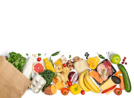 Concepto de compras de abarrotes - alimentos con bolsa de compras