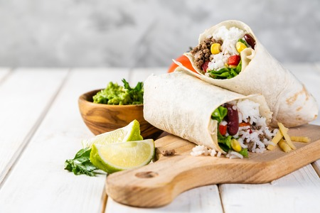 Mexican food - burrito and ingredients