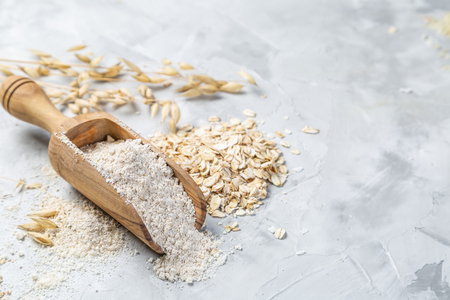 Gluten free concept - oat flour, copy space