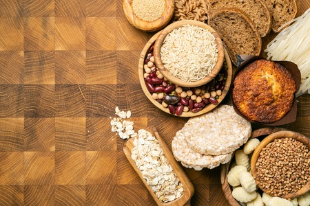 Gluten free diet concept - selection of grains and carbohydrates for people with gluten intolerance, copy space Stock Photo