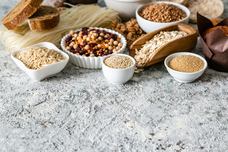 Gluten free diet concept - selection of grains and carbohydrates for people with gluten intolerance, copy space Stock Photo - 119583324