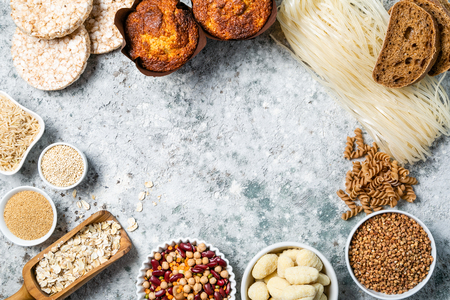 Gluten free diet concept - selection of grains and carbohydrates for people with gluten intolerance, copy space Stock Photo - 119583371