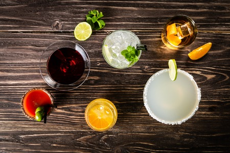Selection of classic cocktails - cosmopolitan, mojito, bloody mary, old fashioned, margarita, aperol 写真素材