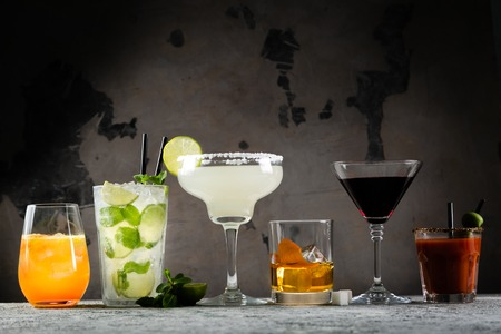 Selection of classic cocktails - cosmopolitan, mojito, bloody mary, old fashioned, margarita, aperol Stock fotó