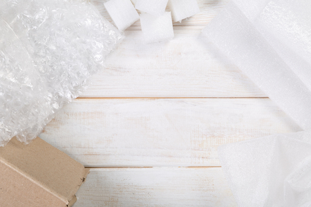Packing products for delivery, shipping service Banco de Imagens