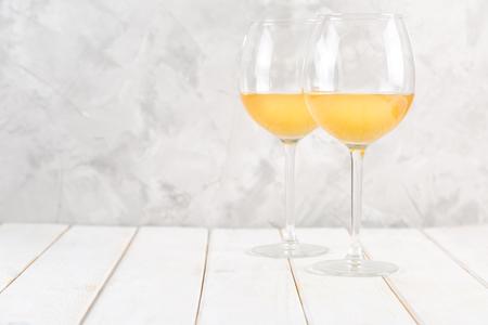 Orange wine in glasses. Food trend.
