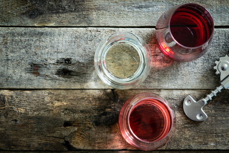 WIne tasting concept - red, rose and white wine in glasses