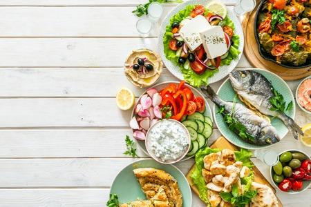Selezione di cibo tradizionale greco? Archivio Fotografico
