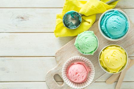 Pastel ice cream in white bowls