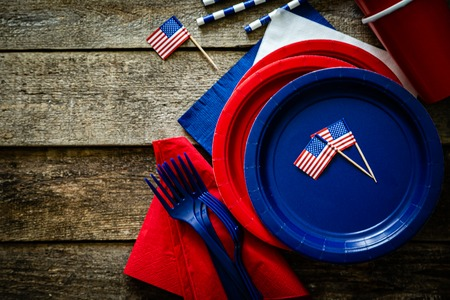 4th of July concept - party decoration of wood