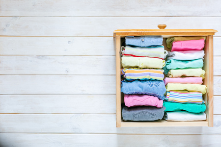 Marie Kondo tyding up method concept - folded clothes Stock fotó - 124134004