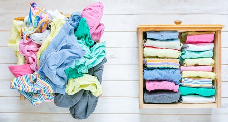Marie Kondo tyding up method concept - before and after kids clothes drawer Imagens